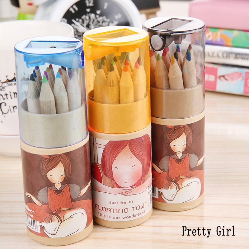 12 Pcs/Lot (12Colors/Set) New Mini Kawaii Wooden Colored Pencil Children Drawing Cute School Stationery Painting Supplies