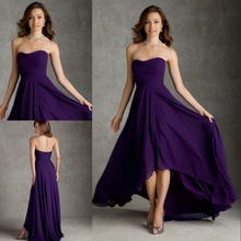 2015 Elegant Grape Purple Bridesmaid Dresses Long In Back Short In Front Elegant Chiffon Long Dress(China (Mainland))