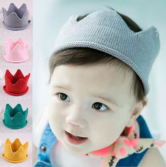 New Unisex Kids Birthday Hat Baby Girls & Boys Knitted Crown Hat Baby Bonnet Photo Props 5 Colors(China (Mainland))