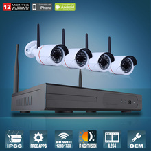 Plug And Play 4CH Wireless NVR CCTV System 720P IP Camera WIFI Waterproof IR Night Vison Home Security Camera Surveillance Kit