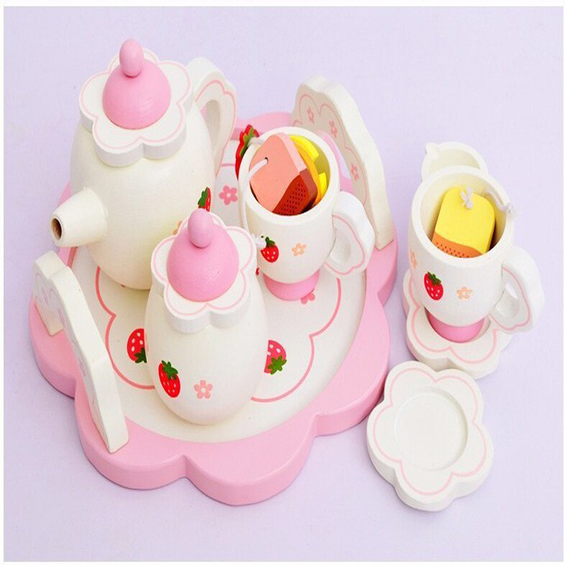Classic Baby Toy Learning Education Mother Simulation Wooden Tea Garden Strawberry Children Play Kitchen Toys kid's Kitchen(China (Mainland))
