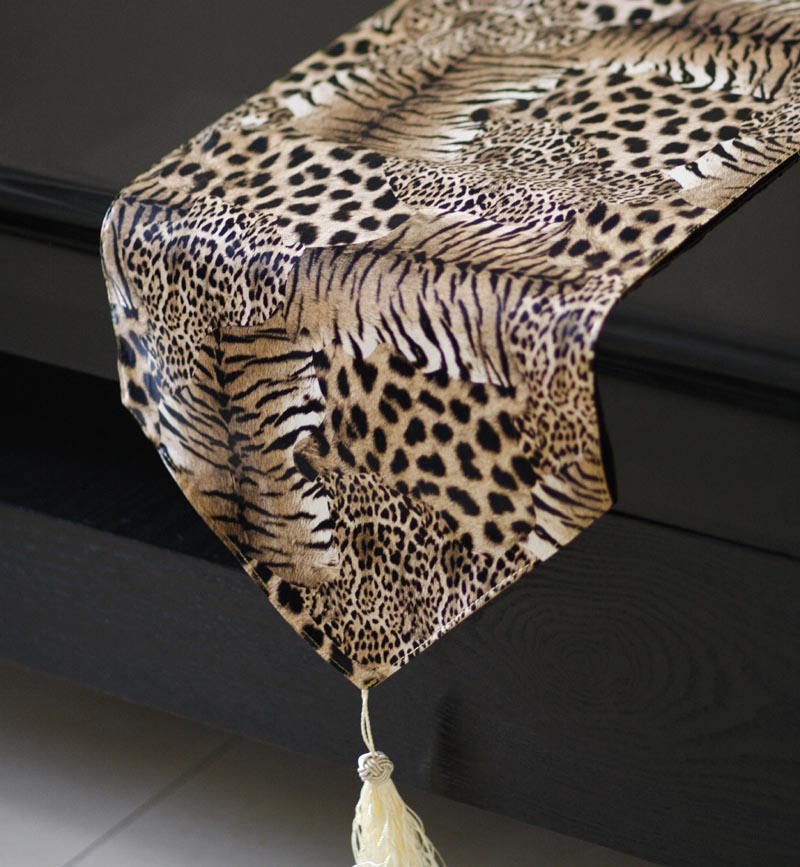 Brown melopsittacus leopard decorative pattern PU table runner soft faux leather dining table runner freeshipping(China (Mainland))