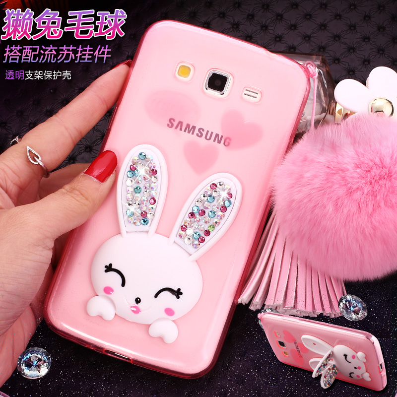 rhinestone rabbit ball mount  case cover For Samsung Galaxy Grand Duos i9082 i9080 GT-I9082 phone case silica gel shell cases