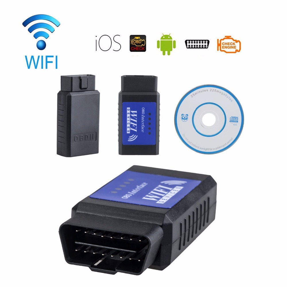 ELM327 OBD 2 Auto Scan Tool ELM 327 Wifi Supports Android and For iOS 2016 High Quality 2 Years Warranty ELM327 Free Shipping(China (Mainland))