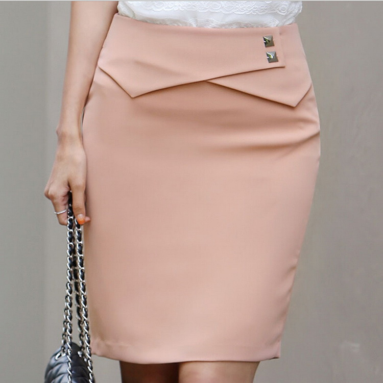 New women skirt 2015 top quality Summer slim fit ladies skirts solid color pretty elegant woman skirt plus sizes(China (Mainland))