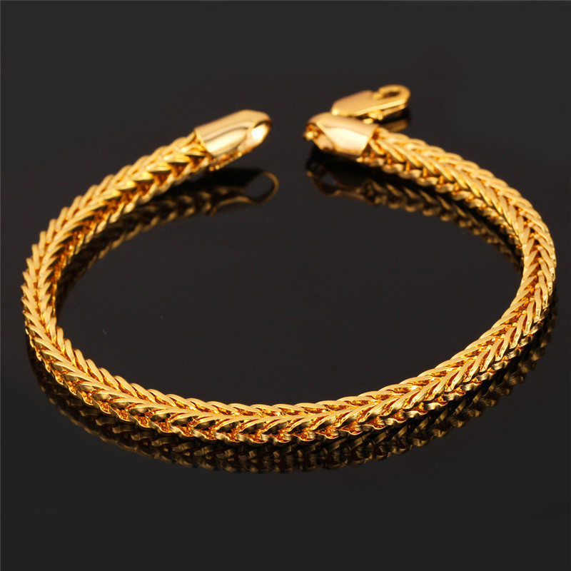 """Fashion Jewelry Men's Gold Chain Bracelet With 18K Stamp 18K Gold Plated 4MM 21CM 8"""" Foxtail Franco Chain Bracelet For Men H850(China (Mainland))"""