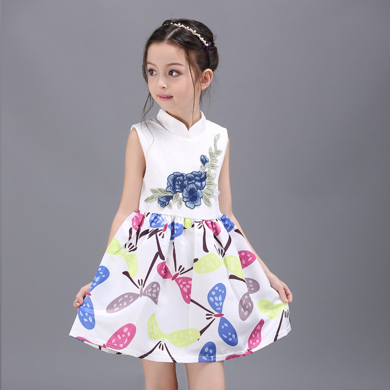 Vestido Mujer Princess Dress For Kids Girls Sleeveless Summer Vintage Floral Printed White Baby Girls Dresses Deguisement Enfant(China (Mainland))