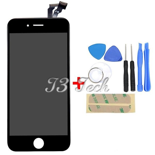 In stock Black 4.7'' inch For Apple iphone 6 LCD Display Touch Screen With Digitizer Assembly + Free Opening Tools + Adhesive(China (Mainland))