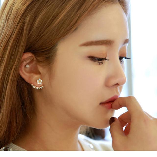 Корейские 3 цвета оставить дейзи цветок кристалл серьги мода женщин себе украшения ...