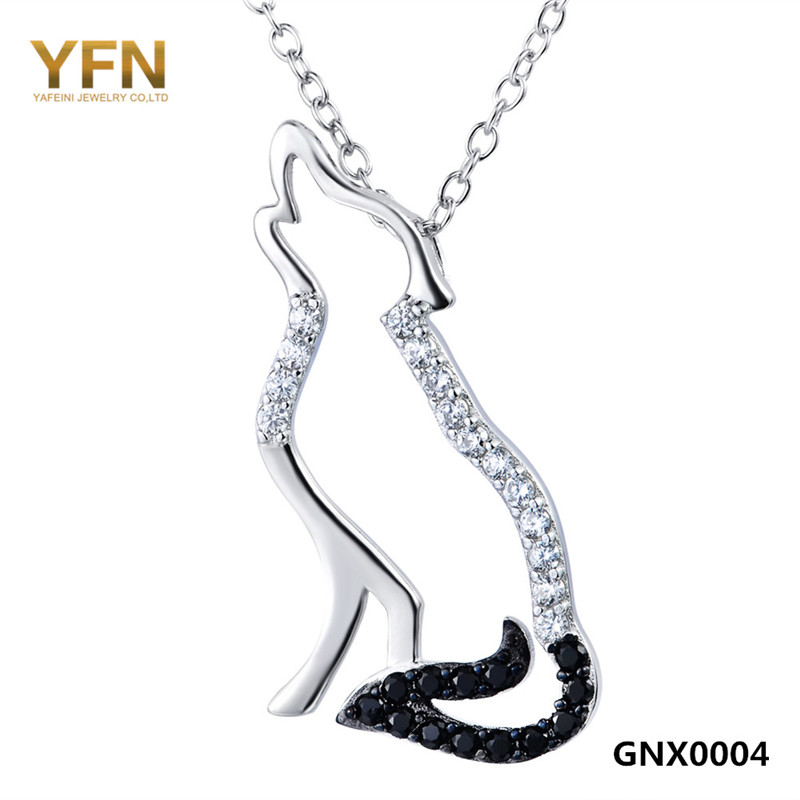 100% Real Pure 925 Sterling Silver Necklace Black White Cubic Zirconia Wolf Necklaces & Pendants Men and Women Jewelry GNX0004(China (Mainland))