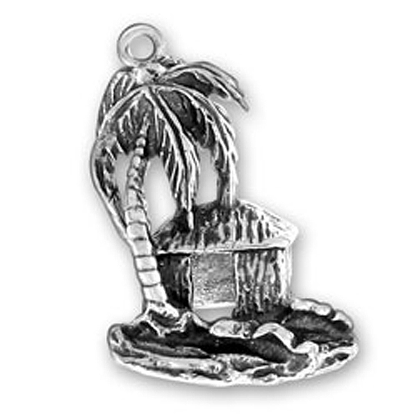 20Pcs allot metal vintage silver plated palm tree and beach cabin plant charms anniversary jewelry making(China (Mainland))