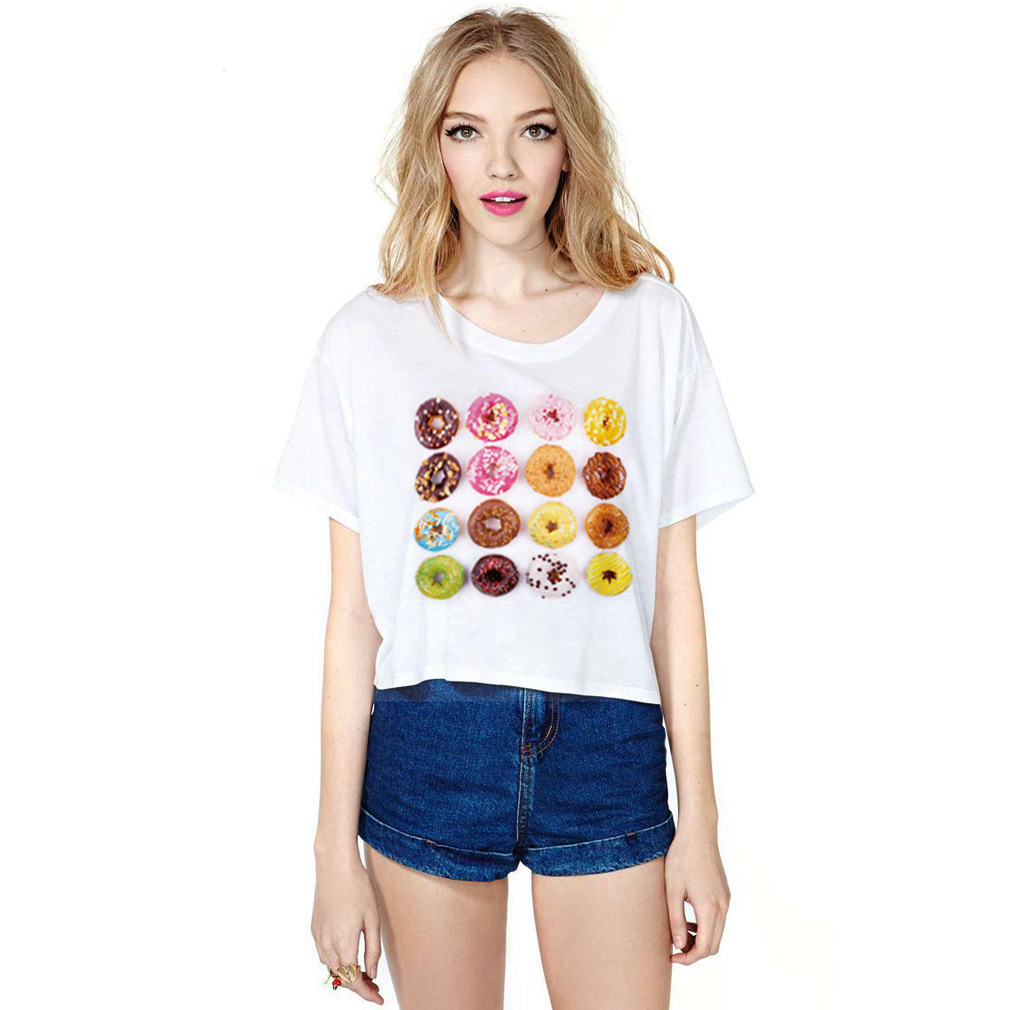 Half day female T-shirt style summer digital printing new relaxed casual blouse T-shirt was clear(China (Mainland))