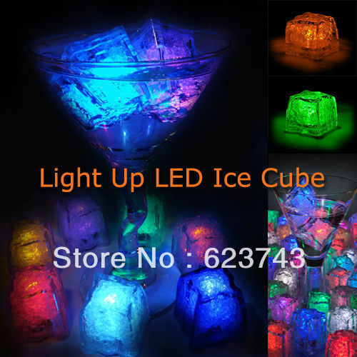 96Pcs free shipping Liquid active Colors Changing LED Night Light ice cube Decoration,Glowing Ice Cube,lighted Ice Led wholesale(China (Mainland))