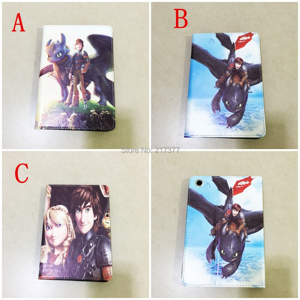 Free Shipping Lovely  3D cartoon How to Train Your Dragon 2 stand leather cover case  for Apple iPad mini(China (Mainland))