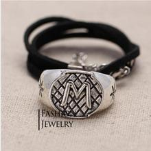 New Arrival 1 Pcs Alloy Silver Plated Letter M Pendant Leather Necklace With Leather Chain(China (Mainland))