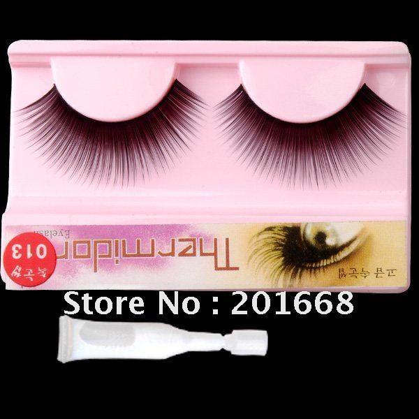 Free Shipping - 100 Pairs individual packing Black Color Make Up False Eyelash Eye Lashes With Glues 14mm - CM026