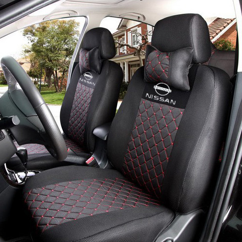 ventilate silk embroidery logo seat covers for nissan paladin murano qashqai x-tral grey/black car seat cover with neck pillows<br><br>Aliexpress