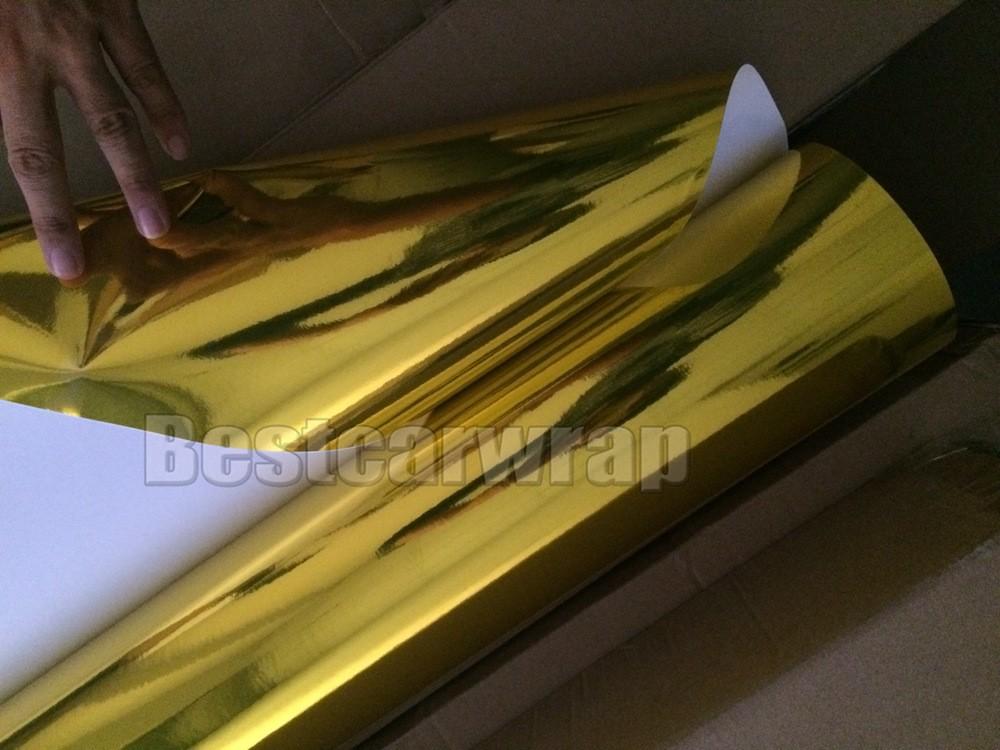 Gold high stretch chrome Mirror car wrapping film premium chrome gloss 3m stm covering foil film stickers (6)