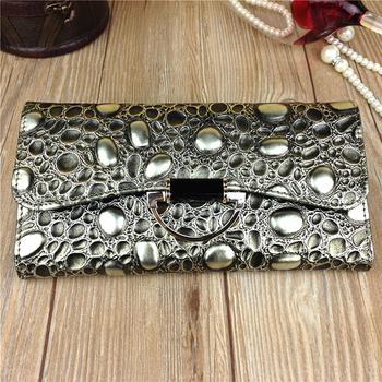 3 Fold Genuine Leather Long Women Stone Wallet Metal Hasp Cellphone Pocket Female Clutch Billeteras Mujer Purse Wallet Women