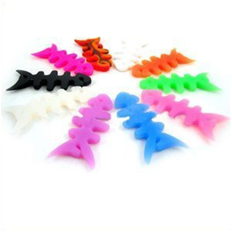 Silicone Earphone head phone Cable Winder Organizer Fish Bone Shape Cable Clip(China (Mainland))