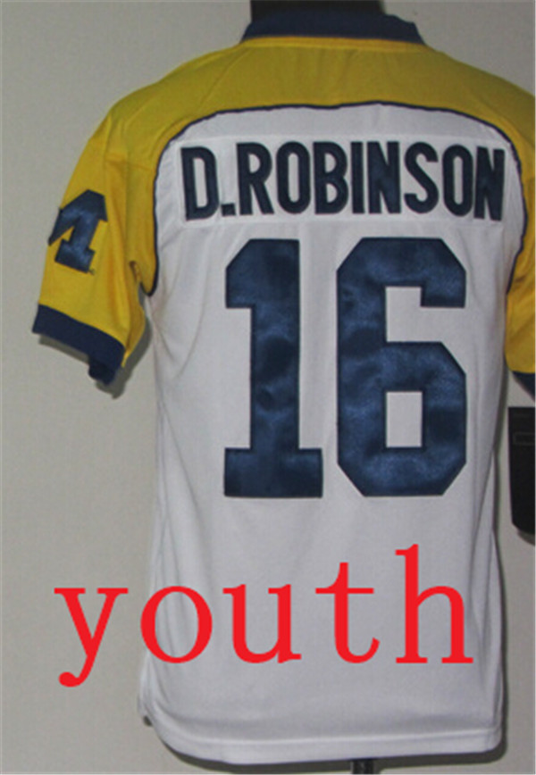 New Arrival Nike Youth Michigan Wolverines Denard Robinson 16 White Cowboys Classic College T-shirt Jerseys(China (Mainland))