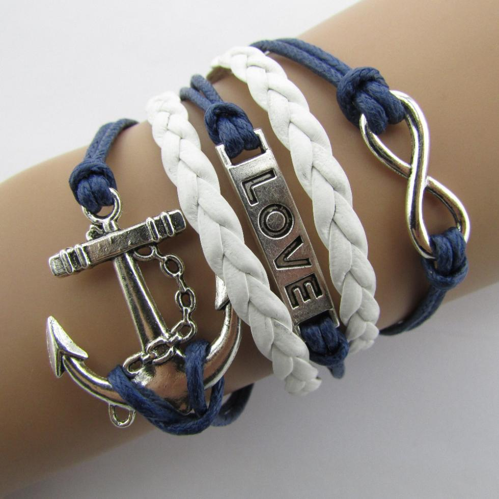 2015 Fashion Multilayer Braided Bracelets Anchor Cross Word LOVE 8 Strands Hand-Woven Fashion Bright Bracelet B5 B104(China (Mainland))