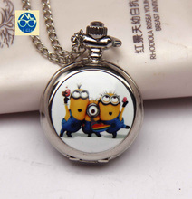 2015 new classic Animated cartoon fashion New silver MINIONS pocket watches necklace sweater chain children A favorite gift