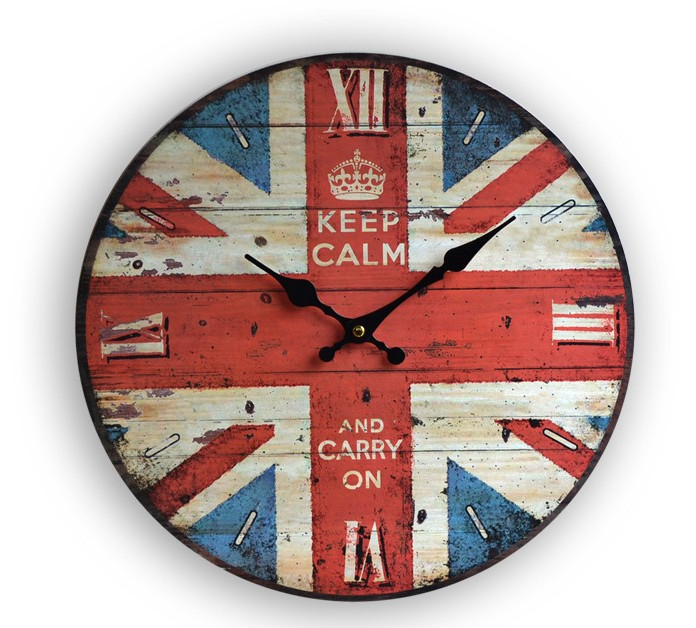 """Free Shiping 13""""Vintage England Banner Colourful Printed Wooden Wall Clock for Home Decoration(China (Mainland))"""