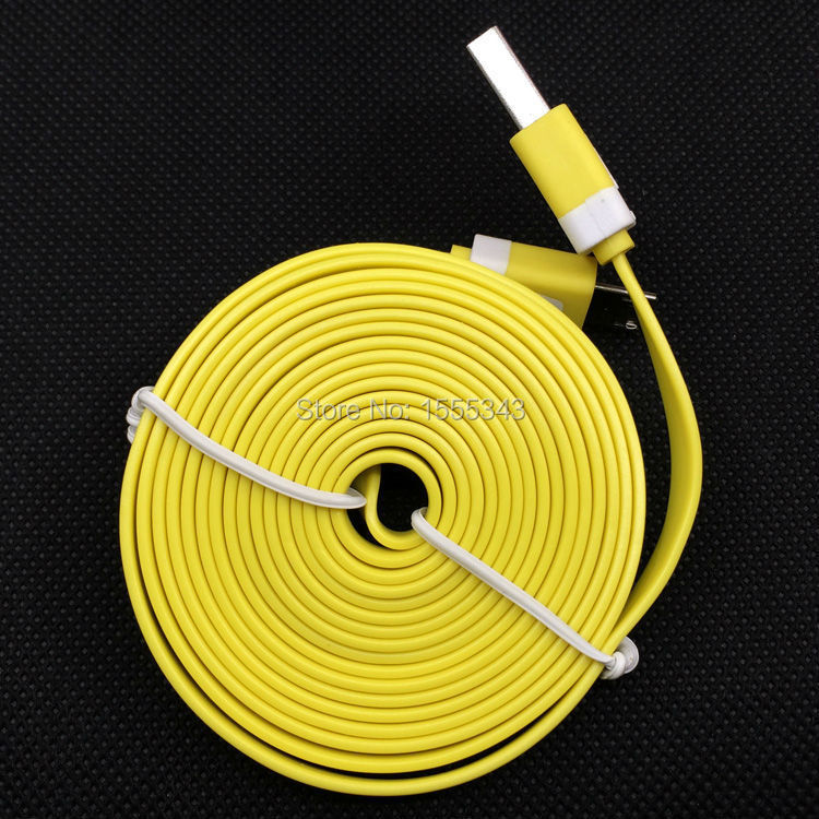 1pcs 9FT / 3M super long Colorful Noodle Micro USB Charging Cable Cords Wire for Samsung Galaxy S2 S3 S4 Note2 N9100 I9500(China (Mainland))