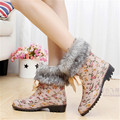 2016 Floral Print Women Rain Boots Wool Fox Fur Snow Boots Outdoor Rainboots Flat Heel Girl