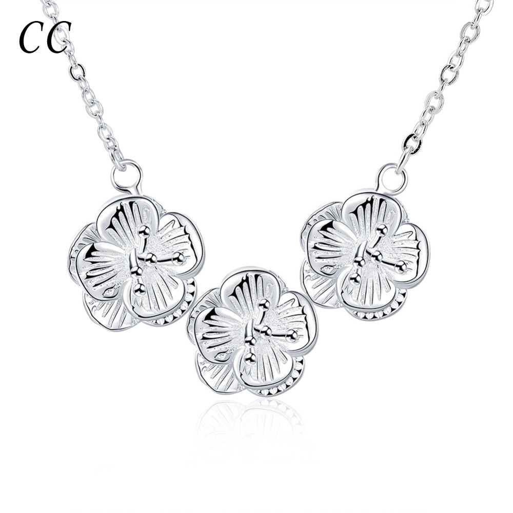 New fashion silver plated delicate flower shape pendants&necklaces for women chic jewelry ladies gifts accessories CCNE0158(China (Mainland))