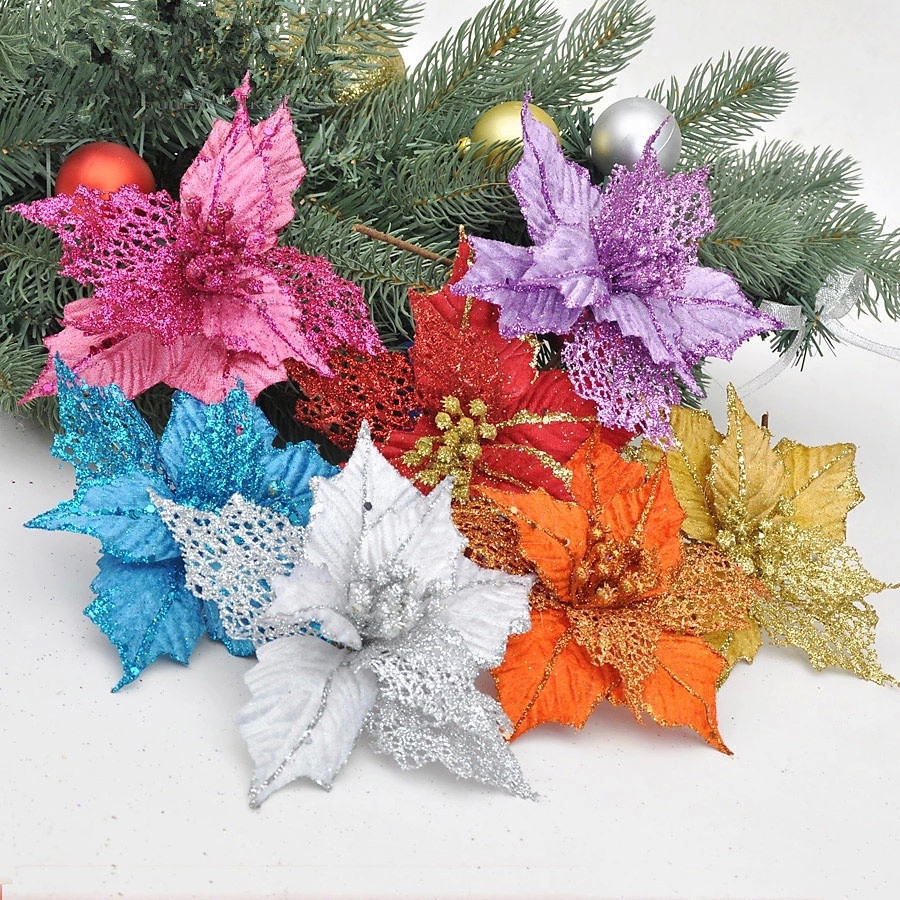Christmas Tree Decoration With Flowers : New cm blue christmas flower powder artificial