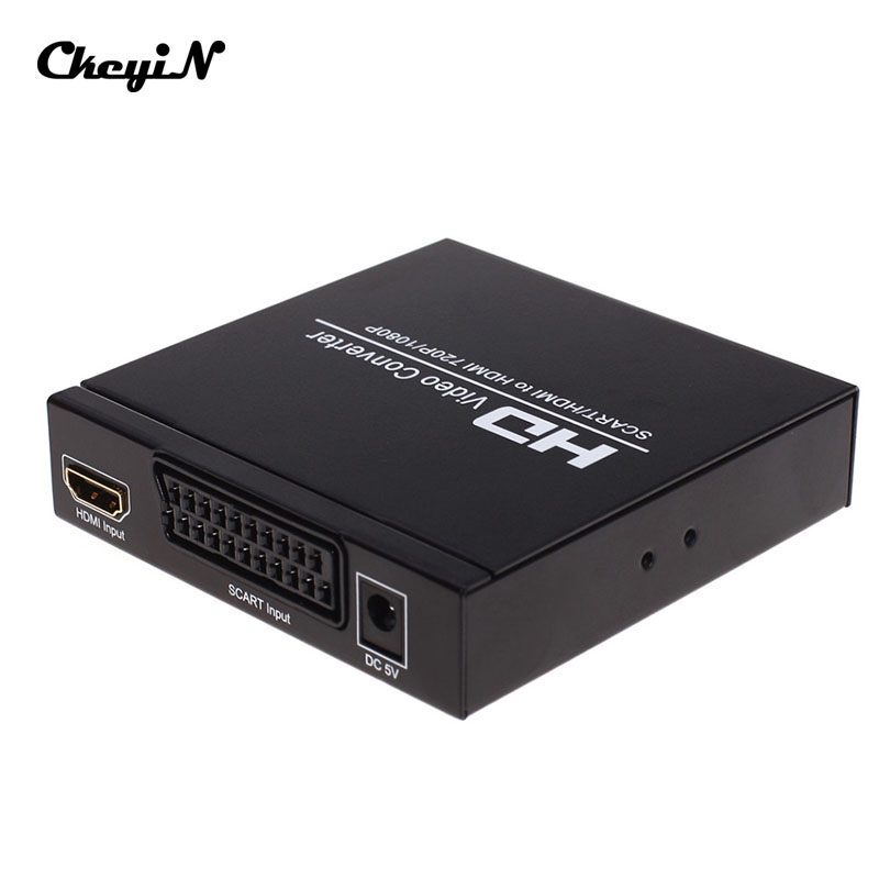 SCART / HDMI HD Video Converter RGB / NTSC(480I) / PAL(576I) To 720P/1080P Adapter Full HD 1080P Converter Adapter HD027 LM4041(China (Mainland))