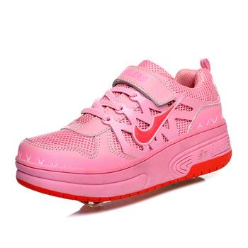 Бесплатная доставка детей ролика heelys кроссовки высокое качество двухместный пу колесо автоматической мальчик девочки роликовые коньки обувь 3060