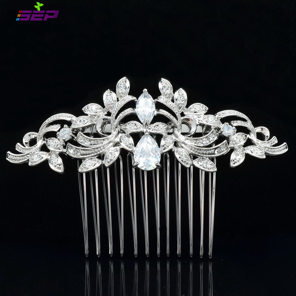 Vintage Silver Plated Women Hairpins Rhinestone Crystals Hair Combs Bridal Wedding Hair Jewelry Accessories 4012r(China (Mainland))