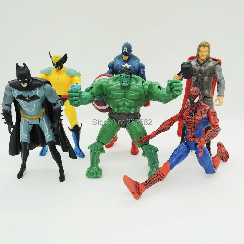 """Hotsell 6"""" 14CM 6pcs/set The Avengers Captain America Thor Spiderman monster hunter Batman PVC Action Figures Super Heroes Toy(China (Mainland))"""