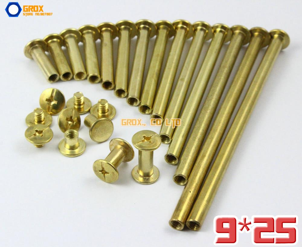 50 Pieces 9 x 25mm Brass Plated Chicago Screw Stud Rivet Belt Strap Fastener (5mm Shank Diameter)(China (Mainland))