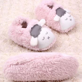 Plush Animal Sheep Design Baby Shoes New Born/Artificial Sheepskin Baby Moccasins/Sapato Infantil Menina Grey Pink