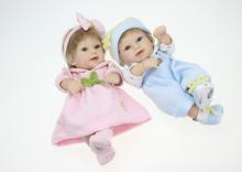 Buy New Fashion Full Silicone10 inch Mini Cute Baby Reborns Twins realistic Handmade Baby Girl Boy Dolls Free Shipping