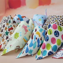 0-10 Age baby cartoon pattern cute cotton bibs baby towel toddler newborn baby feeding infant bibs burp cloth triangle scarf bib
