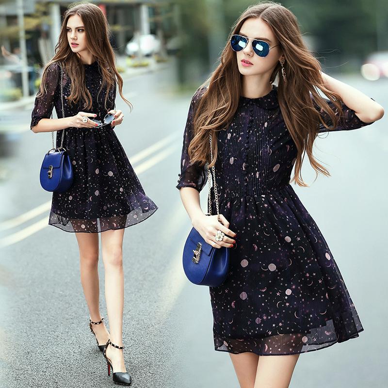 Summer Dress 2016 Women Casual Star Moon Print Dark Blue Dress Half Sleeve Dress Summer Style alibaba express Free Shipping(China (Mainland))