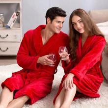 High quality Robes winter flannel robes lovers sleepwear 2016 fashion warm bathrobe bathrobes coral fleece red robe,ty0718(China (Mainland))
