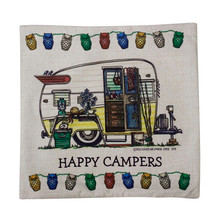 2016 Cute Waist pillow case Happy Campers pillow cover throw cushion decal Linen blend metereial drop shipping(China (Mainland))
