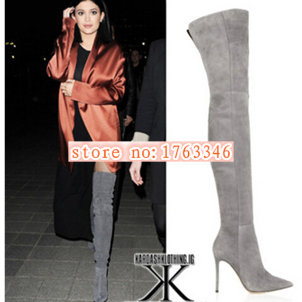 Spring 2015 Pointed Toe Over Knee High Boots Sexy Suede/Leather High Heels Women Fashion Botas Shoes Woman Concise Women Boots