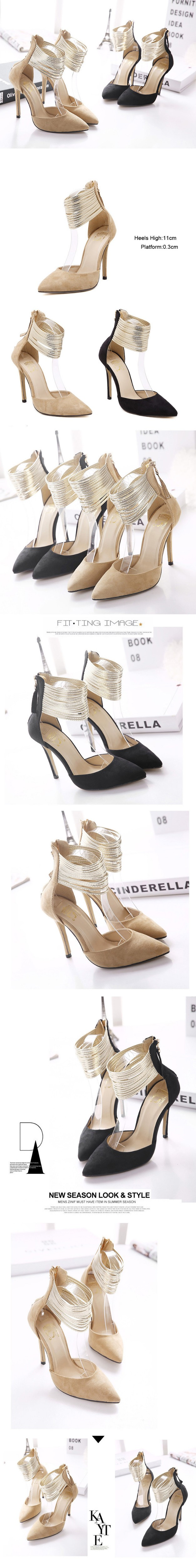 Fashion Angle Strap Style Thin High Heels Women Pumps Sexy Pointed Toe Back Zipper Party Shoes New Arrival Women Shoes ZM2.5