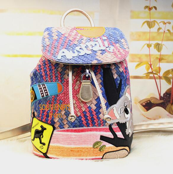 Woven bag Hand backpack New Butch Rini rainbow fashion women hand woven embroidered splicing - Shenzhen Oprah shoes network sales store