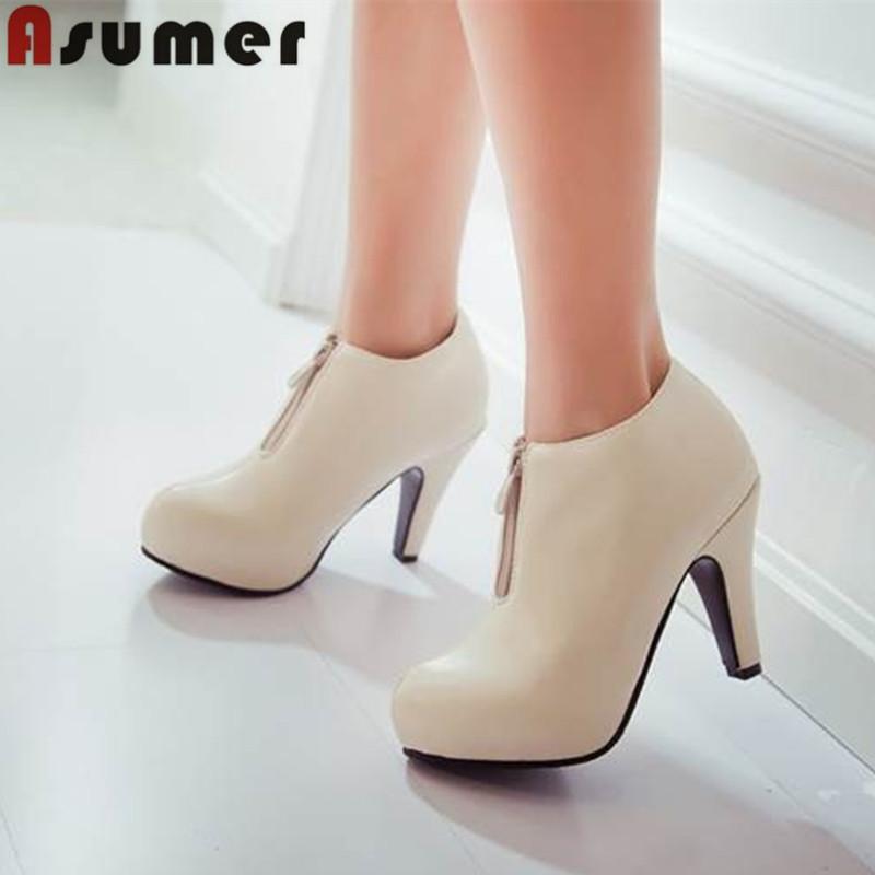 2015 high quality pu popular toe thick high heel