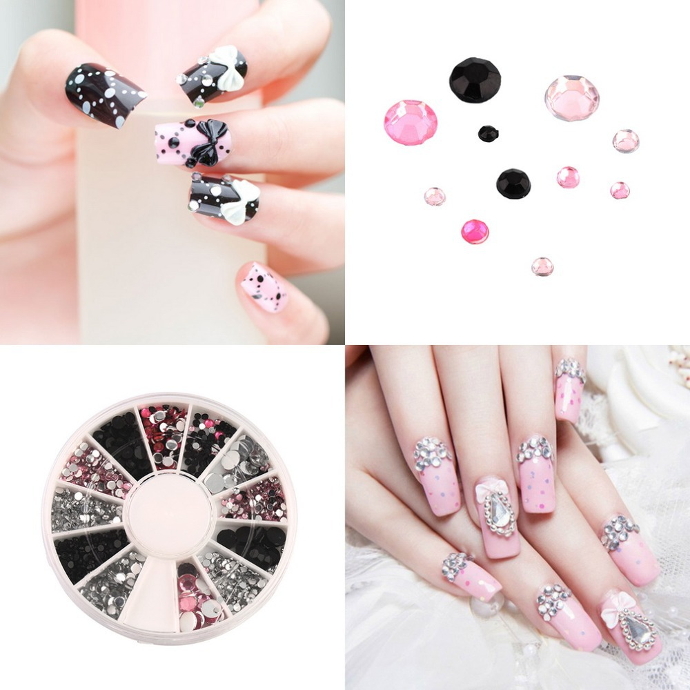1pcs Colorful Nail Art rhinestones Acrylic Nail Decoration 4 sizes For UV Gel Iphone and laptop DIY Free Shipping Quality New(China (Mainland))