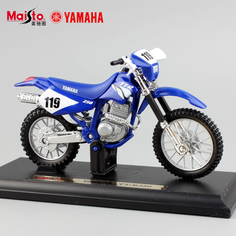 1:18 scale children mini metal Diecast YAMAHA TT-R250 motorcycle Motocross dirt bike race models auto cars Toys for collection(China (Mainland))