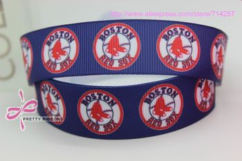 new hot 7/8''  Free shipping boston red sox sports printed grosgrain ribbon bow diy party decoration custom wholesale 22mm P390